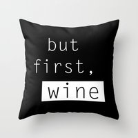 wine Throw Pillows featuring Wine by Mia & Booboo