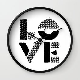 LOVE black-white contemporary minimalist vintage typography poster design home wall decor bedroom Wall Clock