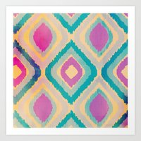 ikat Art Prints featuring URBAN IKAT by Nika