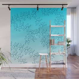 Scattered Music Notes (blue) Wall Mural