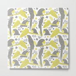 Illuminating Yellow Ultimate Gray Ara Parrot Pattern Metal Print