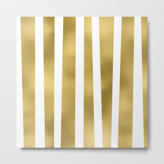 Gold unequal stripes on clear white - vertical pattern Metal Print