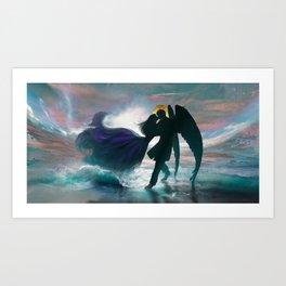 Angel romance embrace Art Print