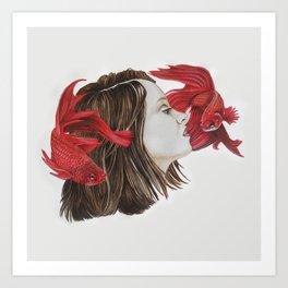 Fish and Girl Art Print