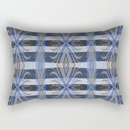Feathery Indigo Antiqued Boho Geometric Print Rectangular Pillow