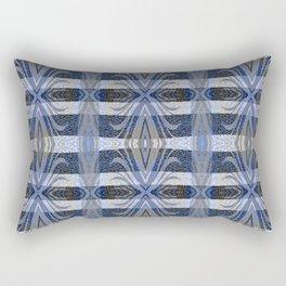 Feathery Indigo Antiqued Boho Geometric Print Rectangular Pillow