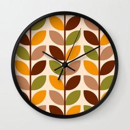 Retro 70s geometric leaves branches brown orange Wall Clock