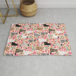 Cat floral mixed breeds of cats gifts for pet lovers cat ladies florals Rug