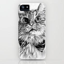 Reggie the Cat, realistic graphite drawing iPhone Case