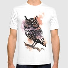 Owl Splash MEDIUM White Mens Fitted Tee