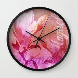Magnolia flower pink orange Wall Clock