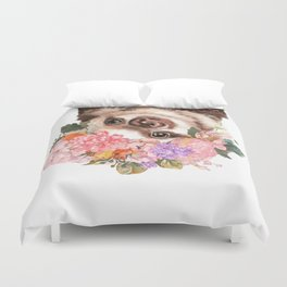 Baby Sloth with Flowers Crown in White Duvet Cover