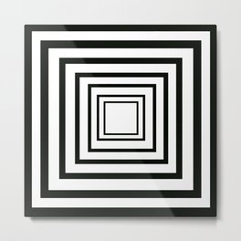 Concentric Squares Black and White Metal Print