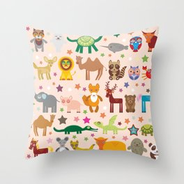 Set of funny cartoon animals character on pink seamless background. zoo. Vector Throw Pillow