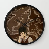the hound Wall Clocks featuring Hound by Ellen Fox