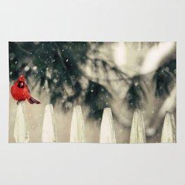 Snowy Day Cardinal Rug