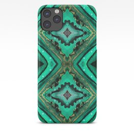 Malachite-inspired alcohol ink art with hints of emerald green, gold and black iPhone Case
