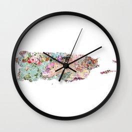 Puerto Rico map Wall Clock