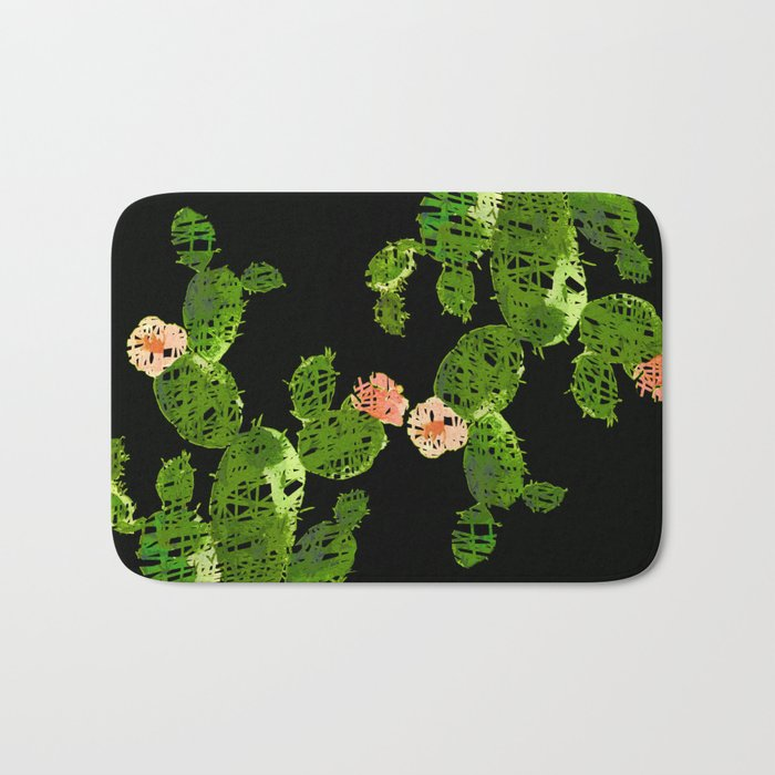 weird cactus black version Bath Mat