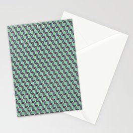 Pistachio Grey Seamless Cube Pattern Stationery Cards