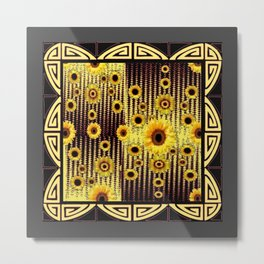 ART DECO GOLDEN SUNFLOWERS DARK GREY-BLACK Metal Print