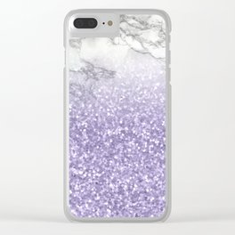 She Sparkles - Violet Purple Glitter Marble Clear iPhone Case
