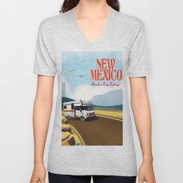 "New Mexico Travel poster. ""Book a trip today"" Unisex V-Neck"