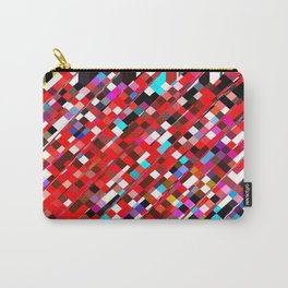 geometric square pixel pattern abstract background in red blue pink Carry-All Pouch