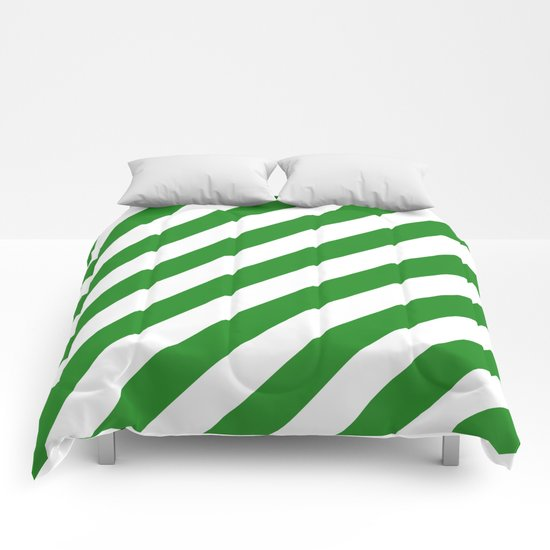 Diagonal Stripes (Forest Green/White) Comforters
