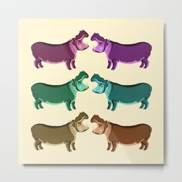 Hippo Friends Metal Print