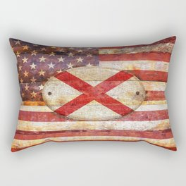 Usa and Alabama flags. Rectangular Pillow
