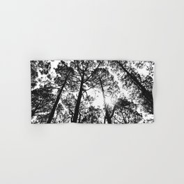 trees, black and white -  Forest landscape photography Hand & Bath Towel