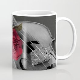Black White Violin Red Rose Musical Instrument Art A507 Coffee Mug
