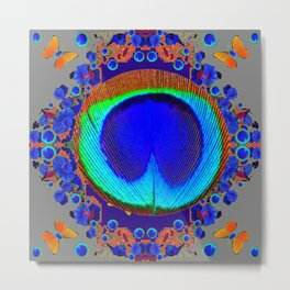 Blue Fantasy Floral Peacock Art Grey Pattern Metal Print
