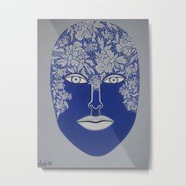 Woman's Visage blue face Metal Print