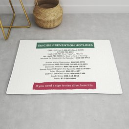 Suicide Prevention Hotlines Rug
