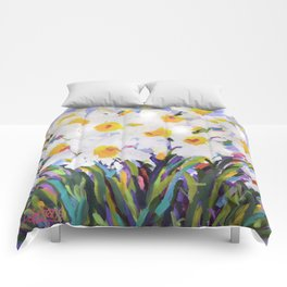 White Daffodil Meadow Comforters