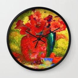RED AMARYLLIS RED-GREEN VASE STILL LIFE Wall Clock