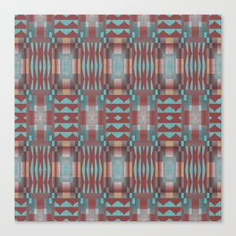 Coral Red Brown Turquoise Rustic Native American Indian Mosaic Pattern Canvas Print