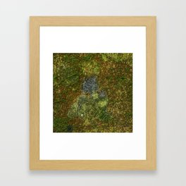 Old stone wall with moss Framed Art Print