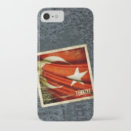 Grunge sticker of Turkey flag iPhone Case