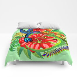 The Lizard, The Hummingbird and The Hibiscus Comforters