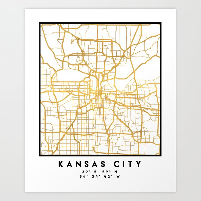 KANSAS CITY MISSOURI CITY STREET MAP ART Art Print by deificusart ...