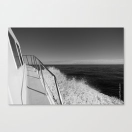 Sailing in the wind through the waves, Boat, Black and White photography #Society6 Canvas Print