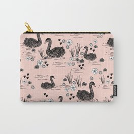 Swans painting cute girly trend cell phone case with swans pattern florals hand painted blush Carry-All Pouch