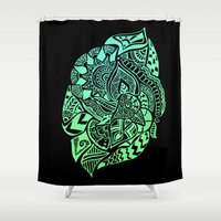 zentangle Shower Curtains featuring Zentangle by Riaora Creations