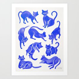 Cat Positions – Blue Palette Art Print