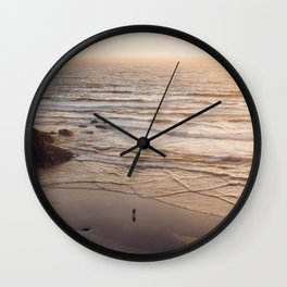 lovers at sunset Wall Clock