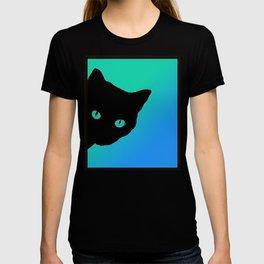 Black Cat Blue Green Tshirt T-shirt