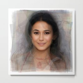 Emmanuelle Chriqui Portrait Overlay Metal Print